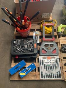 Assorted Tools, Scredriver art, Socket Set, Yard Tools, Collapsable Dolly, jigs, contents of Pallet