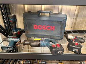 Bosch Cordless Power Tools, Drill Drivers, Reciprocating Saw, Light, 4pcs, Note: Missing Battery Charger