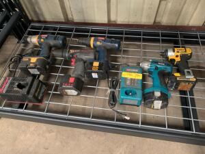 Snap-On, DeWalt, Makita and Ryobi Drill Drivers and Impact Guns, 5pcs