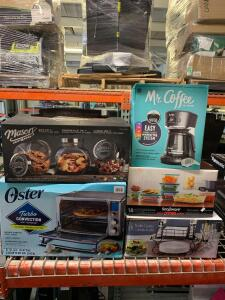 Oster Stainless Steel Finish 6- Slice Dijital Countertop Oven Buffet Caddy Snapware pure glass 18 pc Mr. Coffee Mason 6 pc