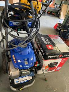 Subaru Electric Start 3100 psi 2.4 GPM Gas pressure Washer poter cable Air compressor 150 psi 6 gallon