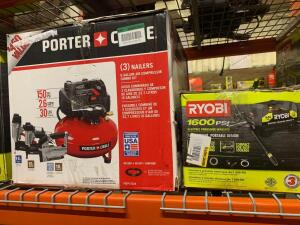 Poter cable Air compressor 150 psi 6 gallon 3 Nailers Kit Ryobi Electric pressure Washer 1600 psi
