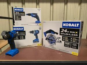 "Kobalt 4pc 24V Set, 6 ½"" Circular Saw (Tool Only), ½"" Drill Driver ( Battery and Charger included), Cordless Drywall Screwdriver (Tool Only), LED Cord"