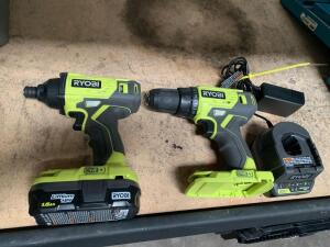 Ryobi 18V Drill Driver and Impact Driver Set, Includes Battery and Charger, 2pcs