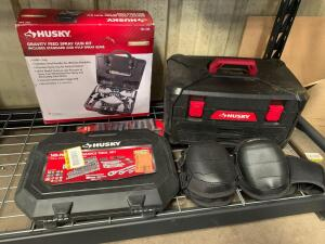Husky Tool Sets, Spray Gun Kit (used), and Knee Pads