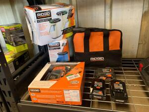Ridgid Batteries, Charging Station, Tool Bag and Wet/Dry Vac Filters