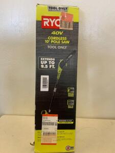 "Ryobi 40v Cordless 10"" Pole saw. tool Only Extends up to 9.5 ft"