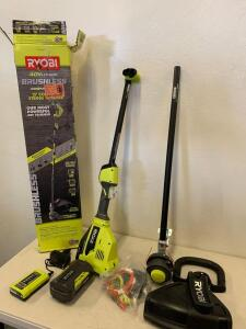 "Ryobi 40vLITHIUM Brushless EXPAND-IT 15"" Cordless String Trimmer kit"