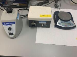 2 Fisher Scientific Vortex Mixers, Corning PC-353 Stirrer, and Scout Pro Digital Scale