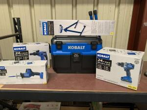 Kobalt Drill Driver, Rotary Hammer, Reciprocating Saw, Hand held Vacuum, Roller Stand, 5pcs