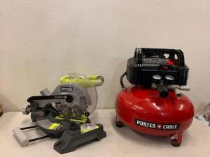 "Ryobi 18v 7-1/4"" Miter saw tool Only /. Poter cable Air compressor 150 psi 6 gallon"