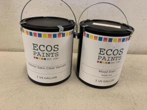 EECOS PAINTS Wood Stain Golden Oak 1 US GALLON / ECOS PAINTS Interior Stain Clear Varnish 1 US Gallon