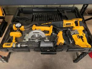 DeWalt 5pc 18V Power Tool set, Drill Driver, Circular Saw, Reciprocating Saw, Jig Saw and Light, includes (2) Batteries, (2) Chargers and Case