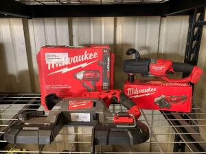 Milwaukee M18 Impact Driver, Deep Cut Band Saw, 4 1/2in Angle Grinder, Hole Hawg, Tools Only