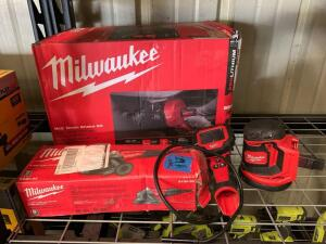 Milwaukee M12 Drain Snake Kit, M Spector 360 Rotating Inspection Scope, 18V Random Orbit Sander and 4 1/2in Angle Grinder, Tools Only