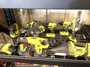 Ryobi 8pc 18V Set, Sander, Circular Saw, Drill Driver, Impact Driver, Angle Drill, Reciprocating Saw, Vacuum and Light, Includes (2) Batteries and Charger