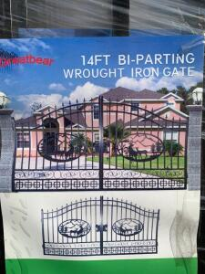Unused Great Bear 14ft Bi Parting Wrought Iron Gate, each gate is 83 3/4in W x 90in High Point, 71in Low Point, 2pcs