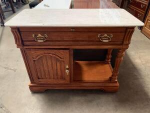 Rolling Marble Topped Buffet