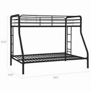 Dorel Metal Bunk Bed, Twin Top, Full Bottom, Assembly Required