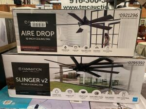 Fanimation 72in Slinger V2 and 52in Aire Drop Ceiling Fans, 2pcs