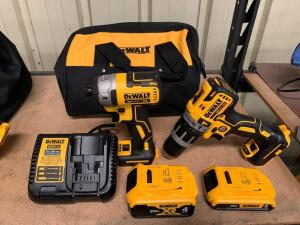 DeWalt 20V Drill Driver and Impact Driver Kit, Includes (2) Batteries, Charger and Bag
