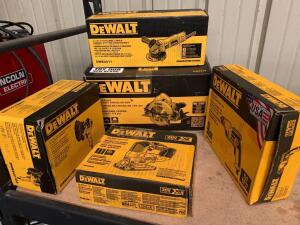 DeWalt Power Tools, 7 1/4in Circular Saw, 4 1/2in Small Angle Grinder, 5in Disc Sander, 3/8in Keyless Chuck Drill Kit and 20V Jig Saw (Tool only), 5pc