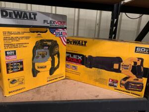DeWalt 60V Reciprocating Saw Kit and 60V 2.5 Gallon Cordless Air Compressor Kit, Includes Batteries and Chargers