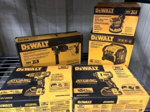 DeWalt 20V Compact Worksite Radio (Tool Only), 1in SDS Plus D Handle Rotary Hammer (Tool only), 5in Random Orbit Sander (tool only), 1/2in Drill Drive