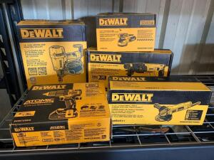 DeWalt 15 degree Siding Nailer, 5in Orbit Sander, 1in Rotary Hammer (tool Only), 4 1/2in Angle Grinder, 20V Hammer Drill (includes Battery and Charger