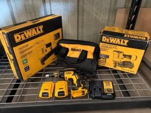 DeWalt 16 Gauge Pneumatic Wide Crown Stapler, 15 Degree Coil Roofing Nailer, 20V Drywall Screw Gun (Includes (2) Batteries, Charger and Bag)