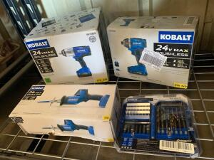 Kobalt 24V 1/2in Impact Wrench, 24V Impact Driver, 24V Reciprocating Saw and Bits Kit