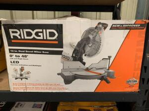 Ridgid 12in Dual Bevel Miter Saw, r4123, inv #c4192