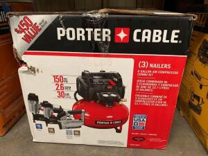 Porter Cable (3) Nailers and Compressor Kit, pcfp12234, inv #c4031
