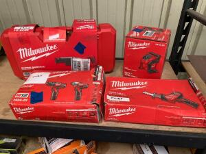 Milwaukee 15A Super Sawzall, M12 Drill Driver and Impact driver with (2) Batteries and Charger, M12 Hackzall (tool only), and M12 Compact Inflator (tool only), 4pcs, inv #c4211, c4169, c4163, c4214