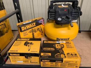 DeWalt 6 Gallon 165psi Compressor, 1/2in Electric Drill, 5in VS Disc Sander and 1/4in 20V impact driver (tool only), 4pcs, inv #c4038, c4137, c4085, c