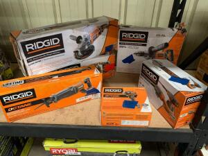 Ridgid 7in Twist handle Angle Grinder, 1/2in Spade Handle Mud Mixer, 5in Random Orbit Sander, 18V Brushless Reciprocating Saw (tool only), 18V Impact driver (tool only), 6pcs, inv #c4104, c4171, c4109, c4103, c4132, c4222