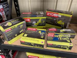 Ryobi 31/4in Portable Planer, 5/8in Hammer Drill, Detail Sander, Variable Speed Drill, 18v impact driver with (1) Battery and Charger, 18V Rotary Cutter (tool only), 6pcs, inv #c4117, c4127, c4122, c4120, c4114, c4118