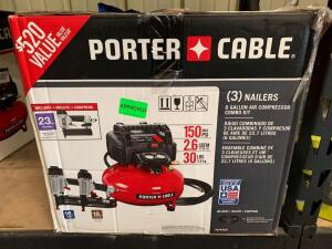 Porter Cable (3) Nailer 6 Gallon Compressor Kit, pcfp3kit, inv #c4024