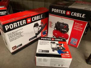 Porter Cable 6 Gallon 150psi Air Compressor, 31/2in Round Head Framing Nailer, 15 Degree Coil Roofing Nailer, 3pcs, inv #c4041, c4226, c4227