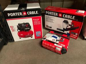 Porter Cable 6 Gallon 150psi Air Compressor, 31/2in Round Head Framing Nailer, 11/2in 18ga Narrow Crown Stapler, 3pcs, inv #c4039, c4228, c4219