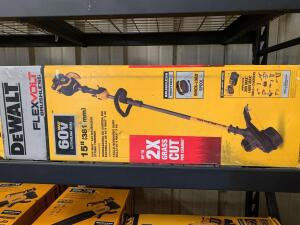 DeWalt 60V 15in Brushless String Trimmer, with battery and Charger, dcst970x1s, inv #c4179