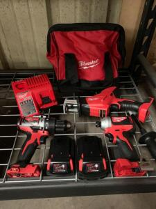 Milwaukee M18 Brushless 3 Pc Kit, drill driver, Impact driver, Reciprocating Saw, (2) Battery's and Charger, inv #c4215