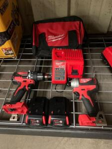 Milwaukee M18 2 pc Kit, Drill Driver, Impact Driver, (2) Battery's and Charger, inv #c4173