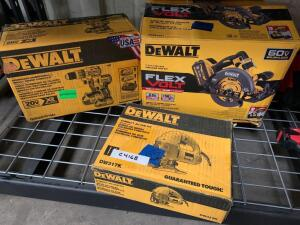 DeWalt 71/4in 60V Flexvolt Circular Saw Lit, includes Battery and Charger, 20V hammer drill impact driver combo kit (tools only), Electric Compact Jig Saw, inv #c4216, c4168, c4174