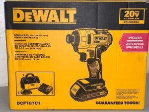 "Dewalt 20vMax Brushless 1/4"" Impact Driver Kit Battery an Charger Included"