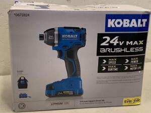 "KOBALT 24vMAX Brushless 1/4"" impact Driver kit Battery and Charger"