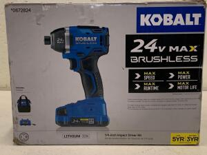 "KOBALT 24vMAX Brushless 1/4"" impact Driver kit battery and Charger included"