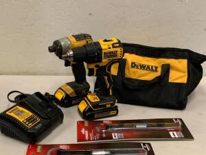 Dewalt 20vMax impact Driver Drill Driver Kit Battery and Charger/ 2 Husky Total Socket Replaces 44 SAE or Metric Sockets