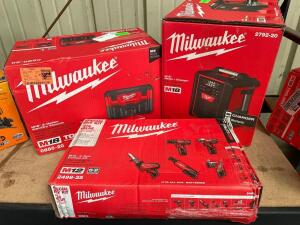 Milwaukee m18 and M12 power tools, m18 radio and charger, m18 2 Gallon Wet/dry Vac, m12 5 tool Combo Kit, inv #4146, 4113, 4152